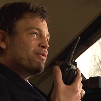Paul Disbergen as engine driver in the corporate film Keep them Rolling (© Bind/Stetz)