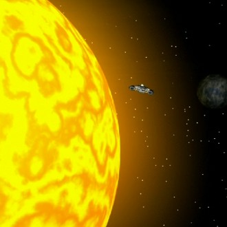 The spaceship of the Sportlets next to the Sun in episode 1 of Sportlets (© Workout Factory BV).