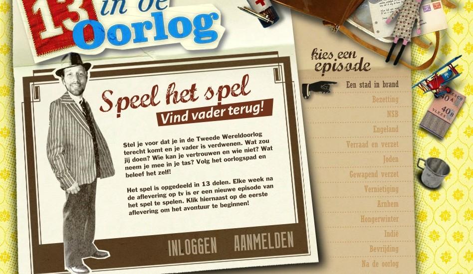 Screenshot van de webgame 13 in de oorlog (© NTR)